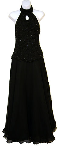 Halter Neck Sequined Dress with Handkerchief Skirt. 7478.