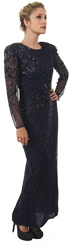 Full Sleeves Beaded Full Length Formal Sequined Gown. 7505.