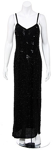 Hand Beaded/Sequined Dress with Frontal Slit. 7508.