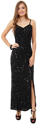 V-Neck Artistic Sequins Pattern Long Formal Sequin Dress. 7513.