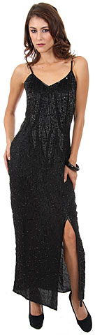 Spaghetti Straps Leafy Sequined Pattern Long Formal Dress . 7554.