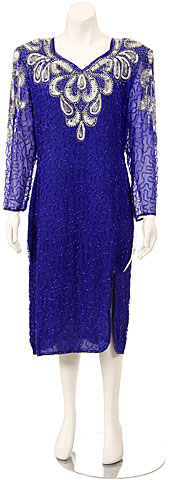 V-neck Fully Beaded Sequin Formal Dress. 7585.