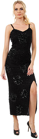 Spaghetti Straps V-Neck Ankle Length Formal Sequined Dress. 7598.