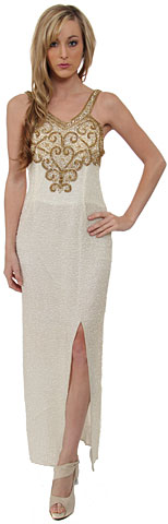 Empire Style Sequin Beaded Formal Sequin Dress. 7629.