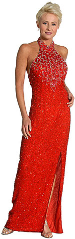 Halter Neck Beaded Formal Dress. 7648.
