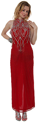 Halter Neck Beaded Formal Dress. 7668.