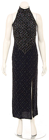 Turtle Neck Beaded Bodice Sequined Formal Dress. 7683.