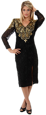 Full Sleeves Tea Length Silk Sequined Formal Dress with Slit. 7686.