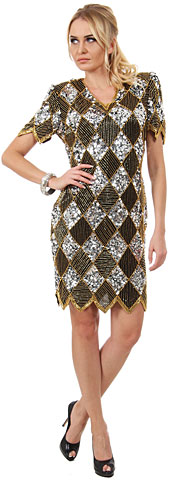Glitzy Diamond Pattern Sequined Short Formal Party Dress. 7690.