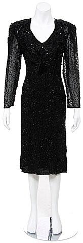 Knee Length Full Sleeves Beaded Tea Length Formal Dress. 7697.