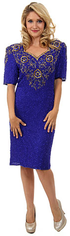 Short Sleeved Handbeaded Short Evening Dress. 7698.