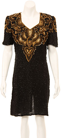 V-Neck Short Beaded Sequin Formal Dress. 7708.