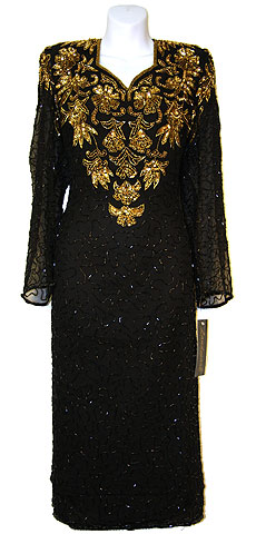 Full Sleeves Below Knee Length Sequined Formal Dress. 7712.