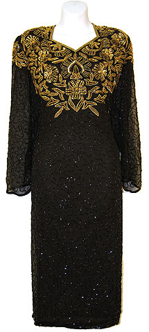 Full Sleeves Below Knee Length Sequined Formal Dress. 7713.