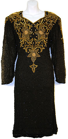 Knee Length Full Sleeves Sequined Formal Dress