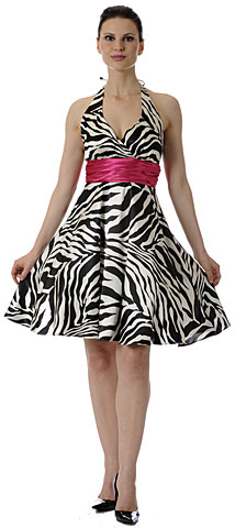Halter Neck Zebra Print Short Cocktail Dress. p7738p.