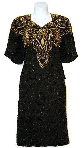 Half Sleeves Knee Length Sequined Formal Party Dress