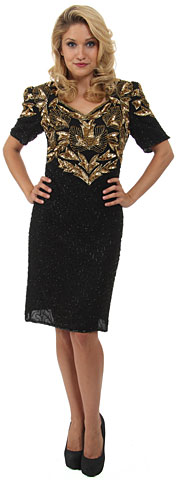 V-neck Half Sleeves Sequined Formal Dress. 7747.