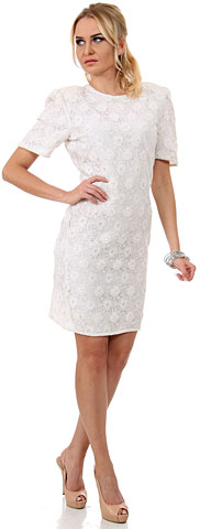 Miniature Flowers Short Formal Party Dress with Keyhole. 7829.