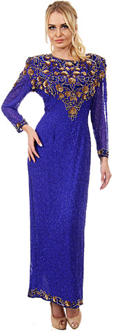 Artistic Sequins Pattern Full Sleeves Long Beaded Gown. 7881.