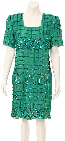 Half Sleeves Knee Length Sequined Cocktail Dress . 7890.