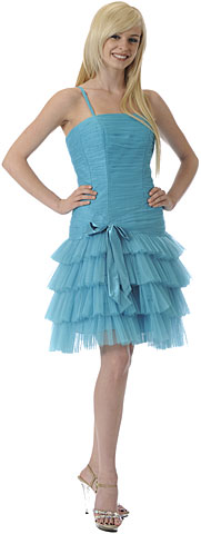 Satin Bow Spaghetti Strap Homecoming Dress. p8002.