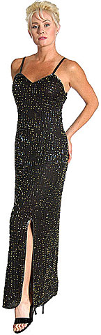 Full Length Beaded Formal Gown with Maze pattern. 8031.