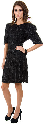 Round Neck Sequined Short Sequin Formal Dress with Keyhole. 8090.