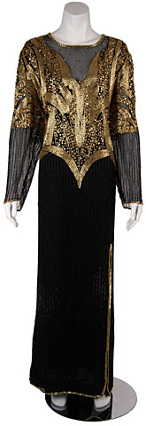 Fully Beaded Long Sleeved Formal Evening Dress. 8130-b.