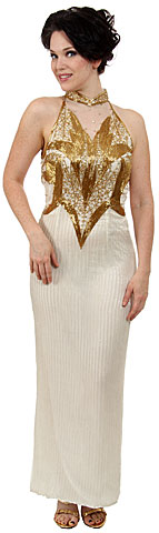 Fully Beaded Closed Neck Gown. 8130.