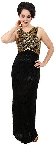 Sleeveless Long Formal Dress with Wrap Style Beaded Bodice. 8134.