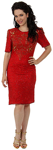 Knee Length Half Sleeves Sequin Formal Dress. 8194.
