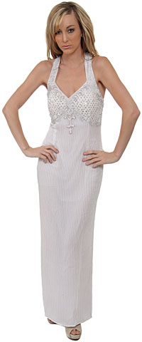 Broad Straps Beaded Long Dress with Atrractive Back. 8661.