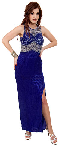 Petals Cutwork Design Beaded Sequin Evening Gown with Love Keyhole. 8705.