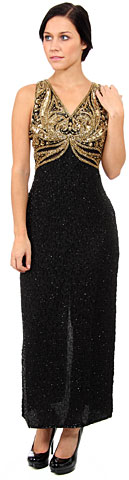 Holed Beadwork Sleeveless Formal Dress. 8710.