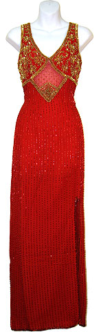 Sequined Pageant Dress with Front-Side Slit. 8722.