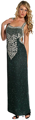 Miniature Star Beaded Open Back Formal Dress. 8780.