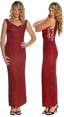 Side Holed V-Low Back Evening Gown. 8835.