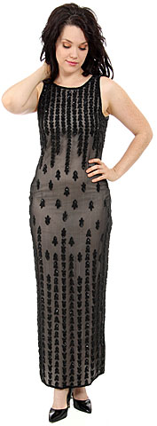 Exquisite Beaded Full Length Formal Cocktail Dress. 8838.