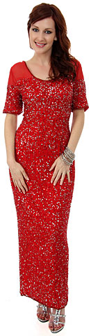 Half Sleeves Sequined Formal Evening Dress. 8847.