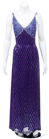 Hand Beaded Long Cocktail Dress. 8859.