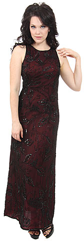 Floral Black Beaded Silk Formal Dress. 8872.
