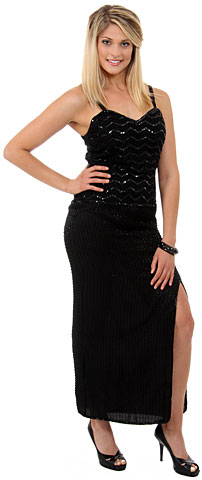 V-Neck Spaghetti Straps Sequined Long Formal Dress. 8875.