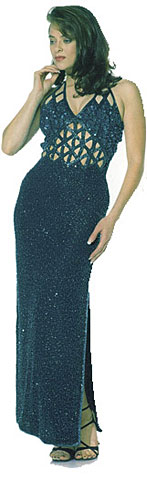 V-Neck All Beaded Full Length Dress. 8879.