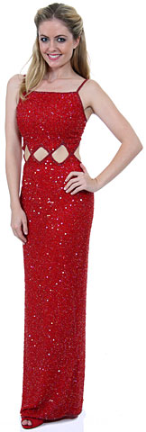 Spaghetti Straps Sequined Long Dress with Keyhole Waist. 8911.
