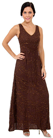 V-Neck Empire Cut A-line Formal Beaded Dress with Keyhole. 8955.