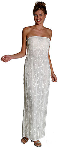 Off Shouldered Leaf Beaded Formal Dress. 8965.