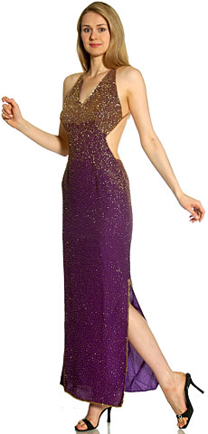 Backless  Beaded Plus Size Prom Dress. 8967.