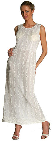Full Length Sleeveless Beaded Formal Dress