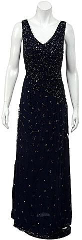 V-neck Sleeveless Full Length Beaded Formal Dress.. 9096.